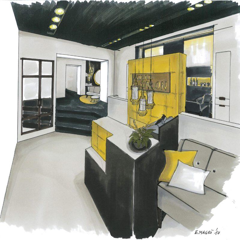 schnittig - Frisörsalon <br/> Entwurfskizze von Elena Magrì