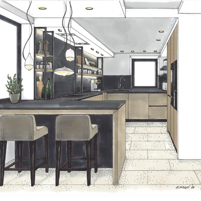appetitlich - Küche Entwurfsskizze von Elena Magrì