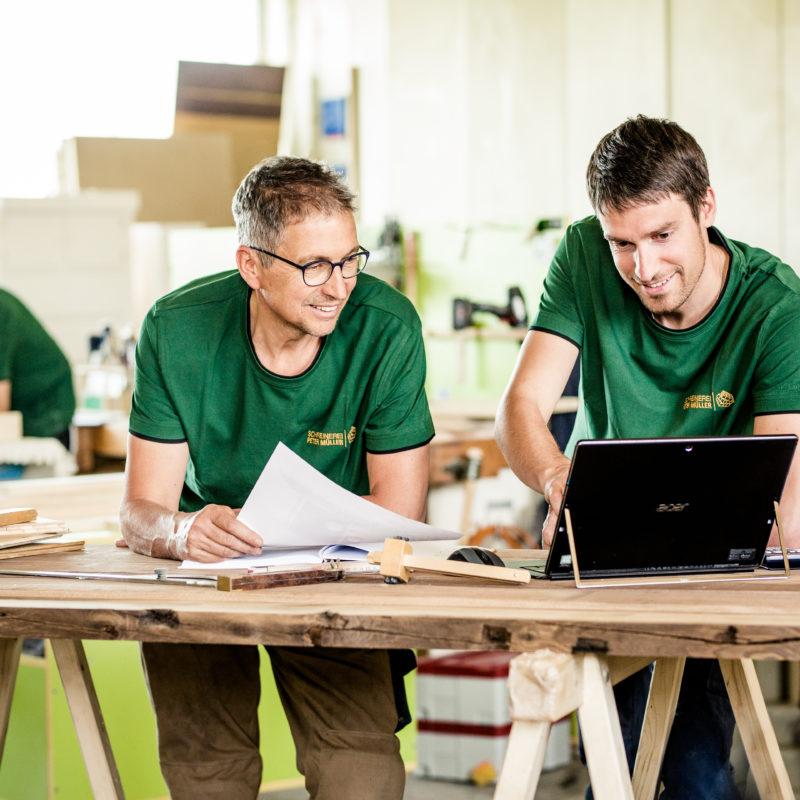 Planung - Peter Müller und David Fießinger<br/>die beiden Meister stimmen sich ab